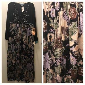 Carol Little Vintage Boho flowy maxi dress. 6 NWT